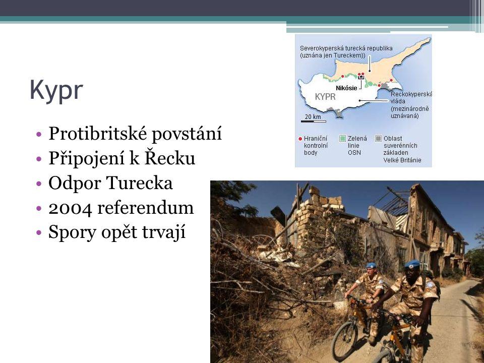 Kypr Protibritské povstání Připojení k Řecku Odpor Turecka