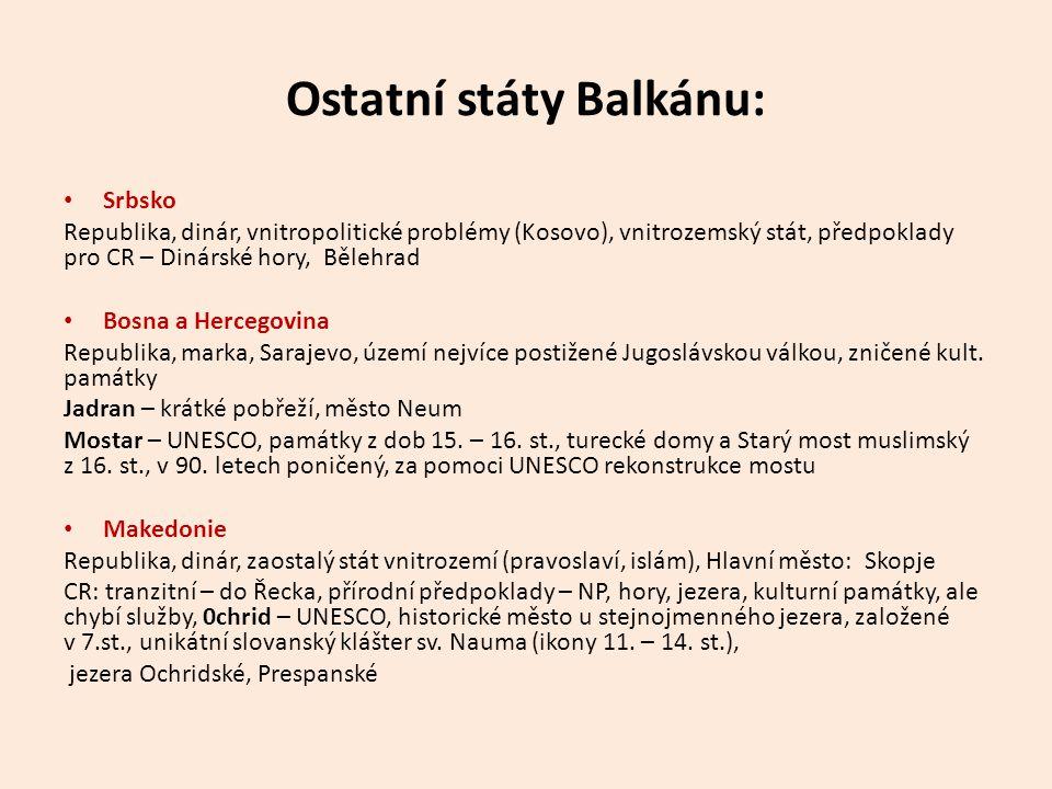 Ostatní státy Balkánu: