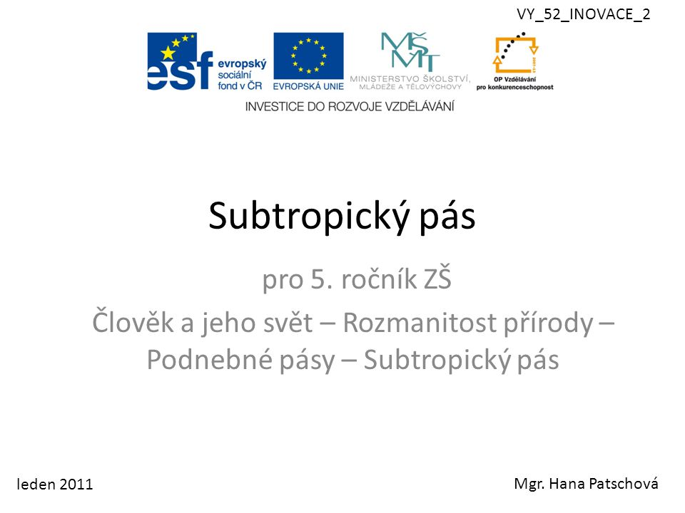 Subtropický pás pro 5. ročník ZŠ
