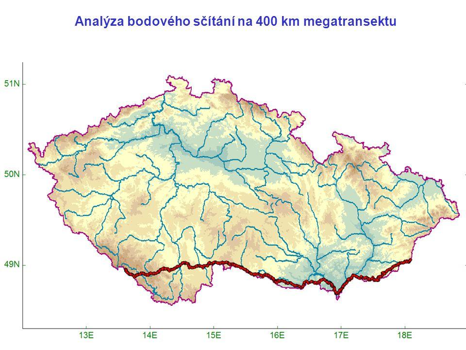Analýza bodového sčítání na 400 km megatransektu
