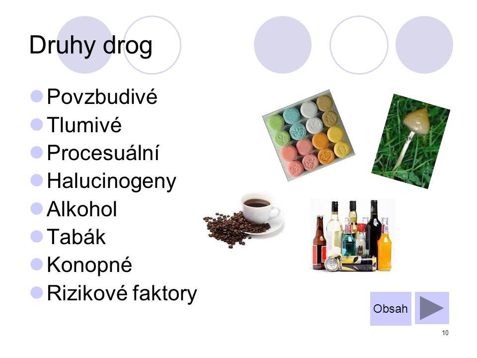 Druhy drog Povzbudivé Tlumivé Procesuální Halucinogeny Alkohol Tabák