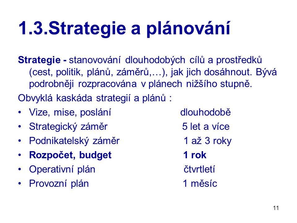 1.3.Strategie a plánování