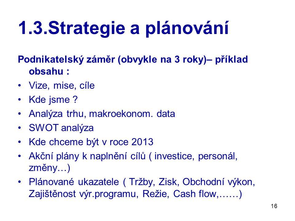 1.3.Strategie a plánování Podnikatelský záměr (obvykle na 3 roky)– příklad obsahu : Vize, mise, cíle.