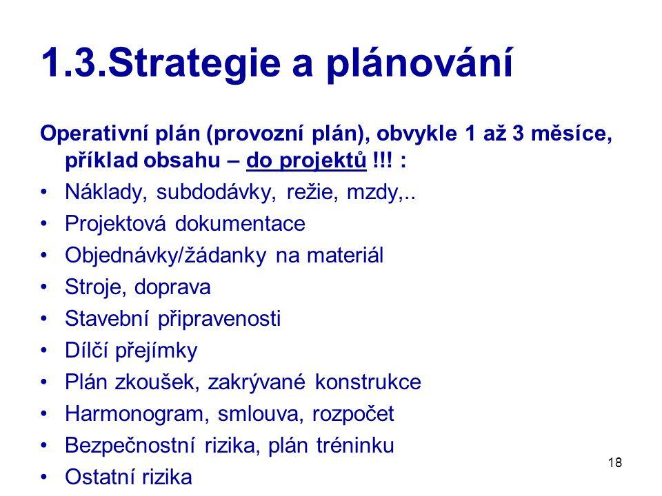 1.3.Strategie a plánování Operativní plán (provozní plán), obvykle 1 až 3 měsíce, příklad obsahu – do projektů !!! :