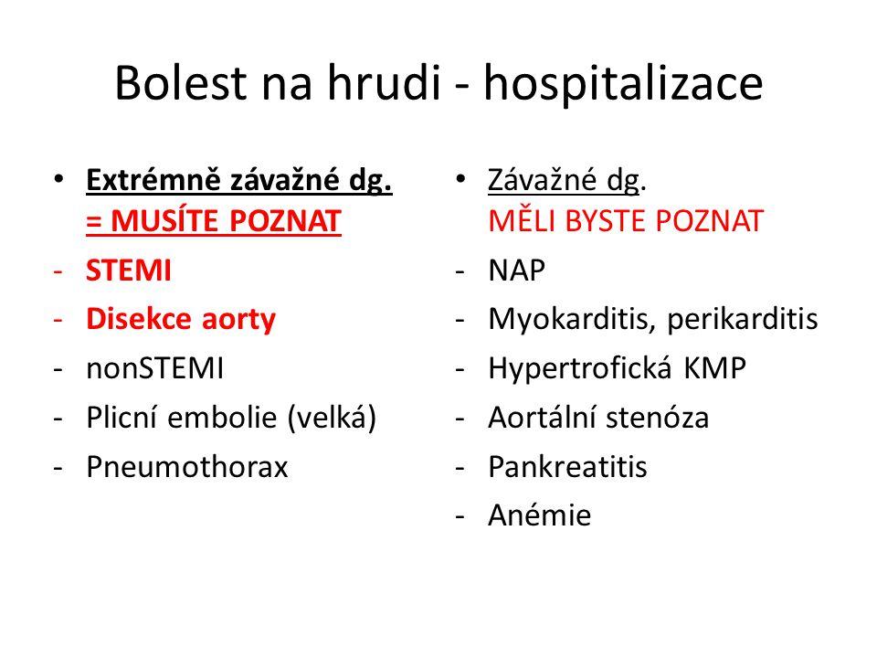 Bolest na hrudi - hospitalizace