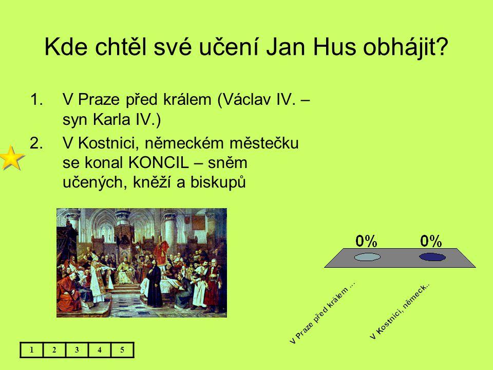 Kde chtěl své učení Jan Hus obhájit