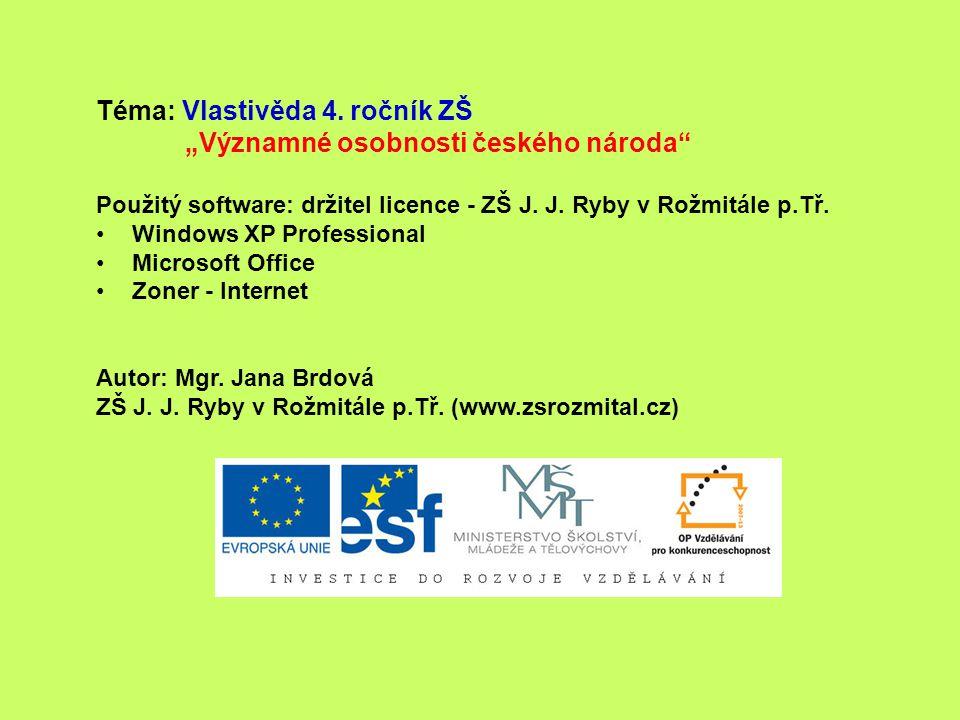 """Téma: Vlastivěda 4. ročník ZŠ """"Významné osobnosti českého národa"""