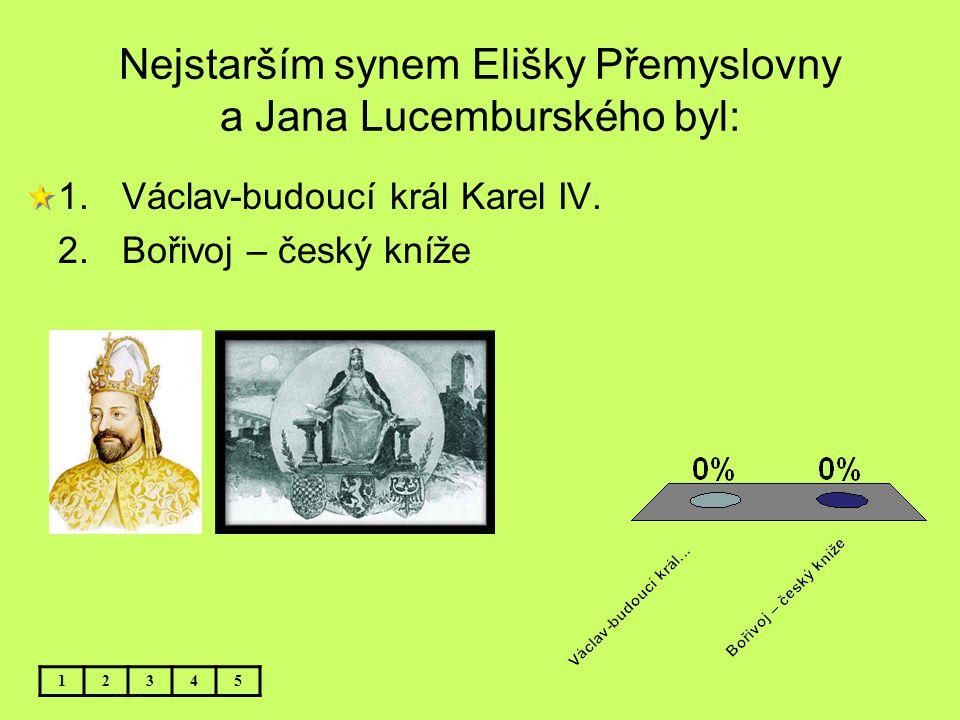 Nejstarším synem Elišky Přemyslovny a Jana Lucemburského byl: