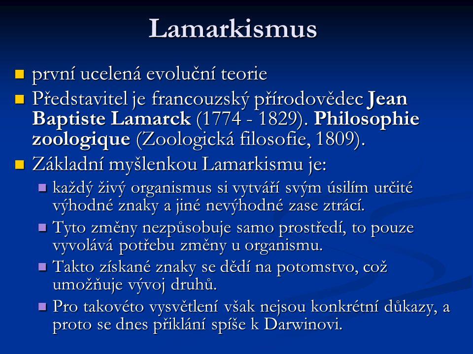 Lamarkismus první ucelená evoluční teorie