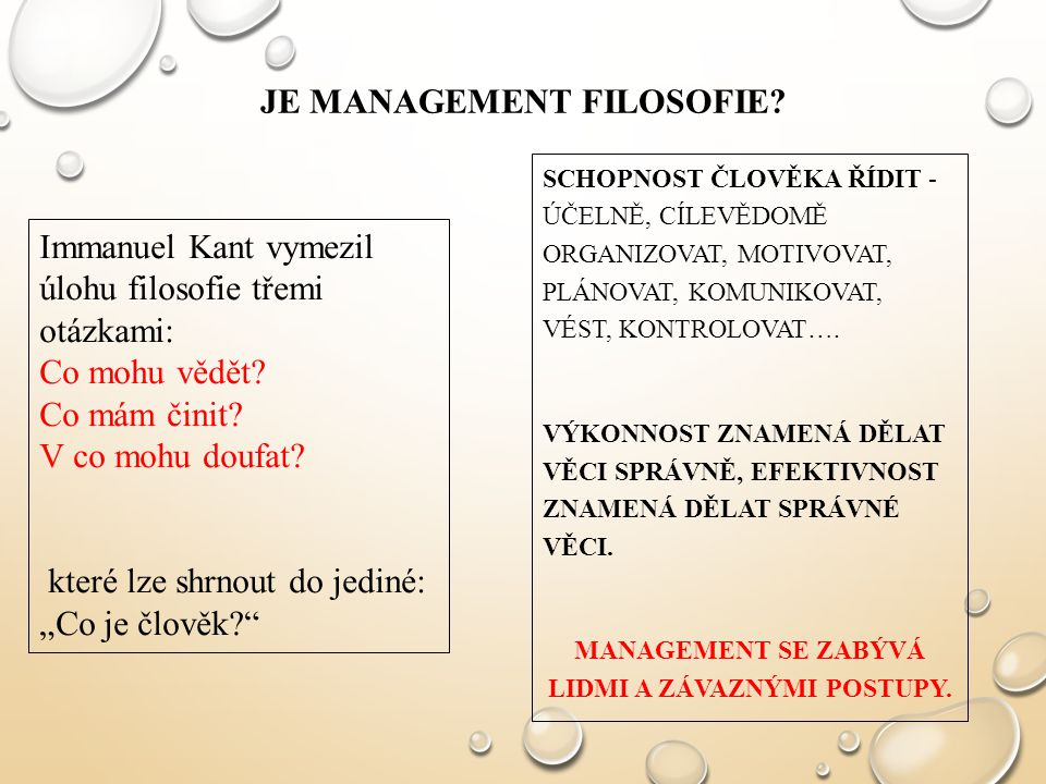 JE management filosofie