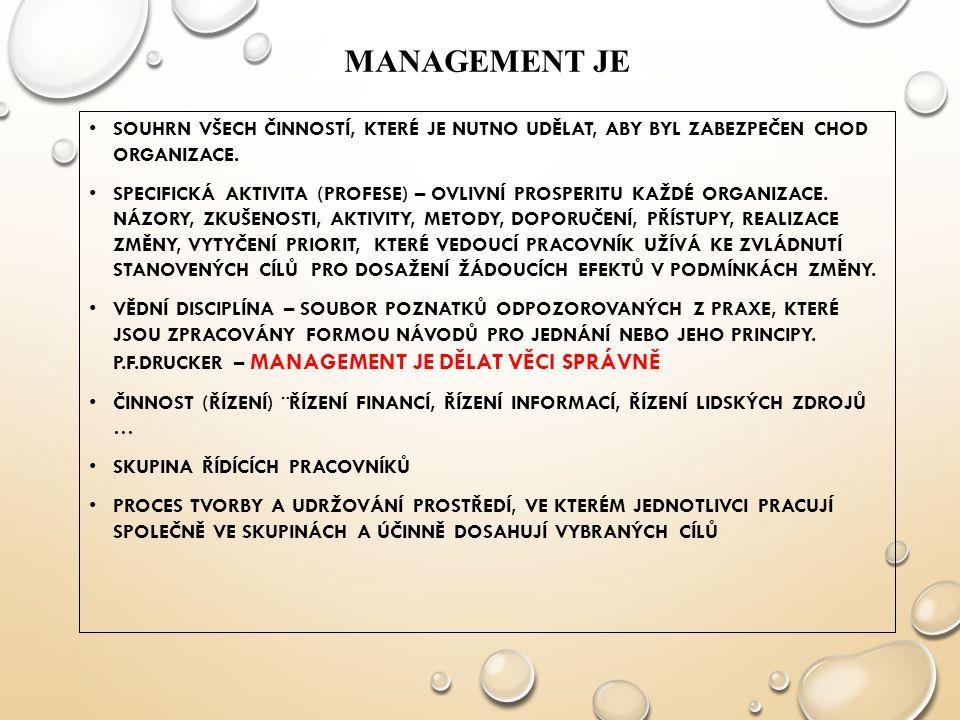 Management je SOUHRN VŠECH ČINNOSTÍ, KTERÉ JE NUTNO UDĚLAT, ABY BYL ZABEZPEČEN CHOD ORGANIZACE.