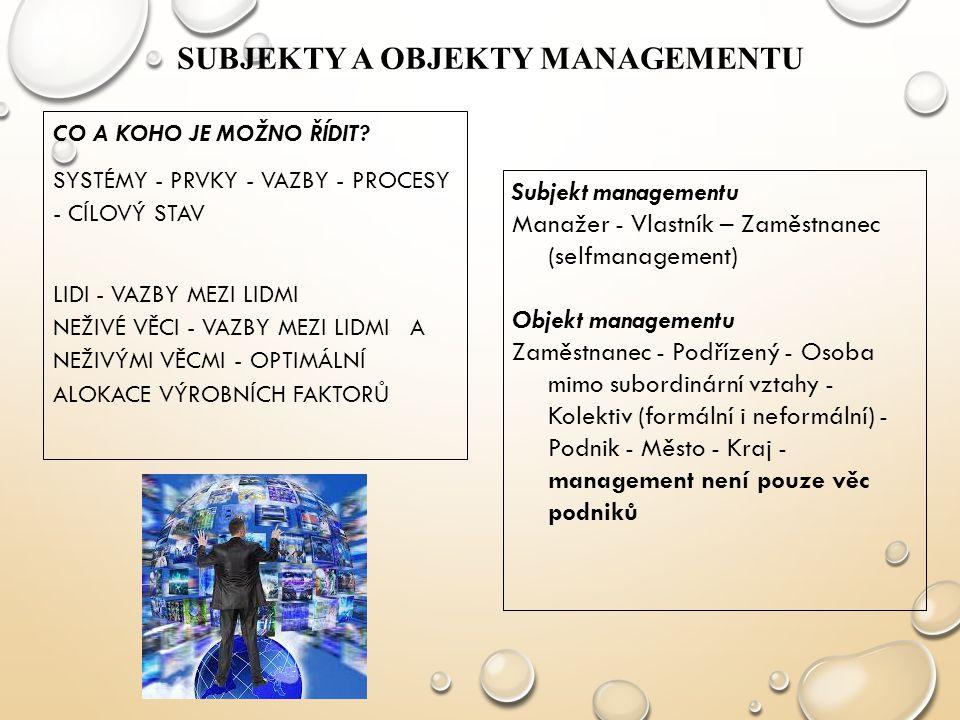 Subjekty a objekty managementu