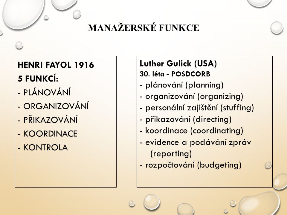 - plánování (planning) - organizování (organizing)