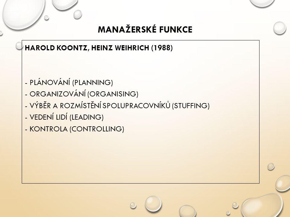 Manažerské funkce HAROLD KOONTZ, HEINZ WEIHRICH (1988)