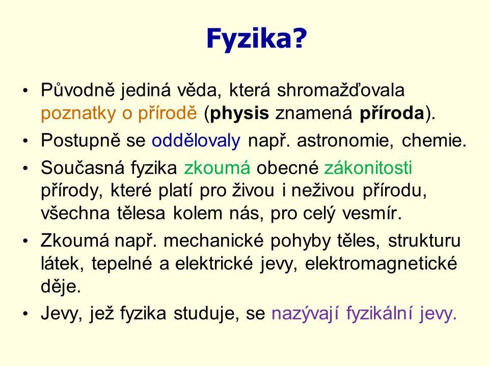Fyzika Původně jediná věda, která shromažďovala poznatky o přírodě (physis znamená příroda). Postupně se oddělovaly např. astronomie, chemie.