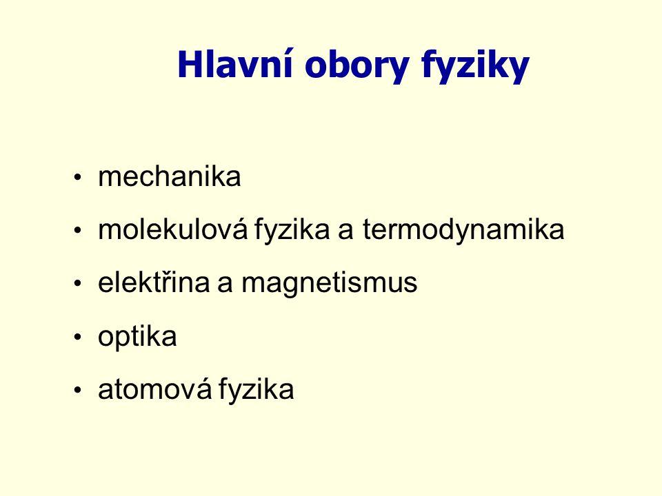 Hlavní obory fyziky mechanika molekulová fyzika a termodynamika