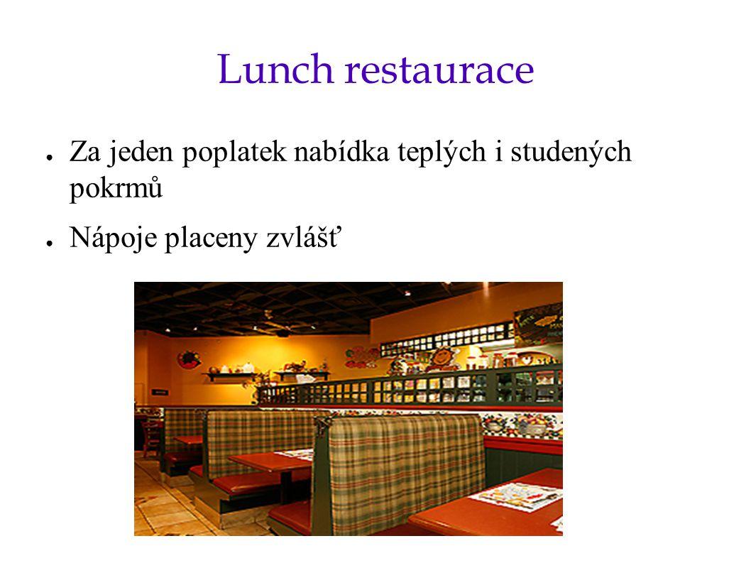 Lunch restaurace Za jeden poplatek nabídka teplých i studených pokrmů