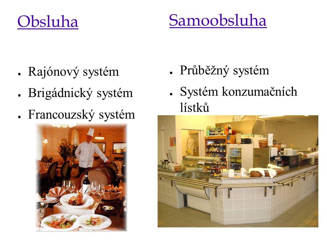 Samoobsluha Obsluha Průběžný systém Rajónový systém