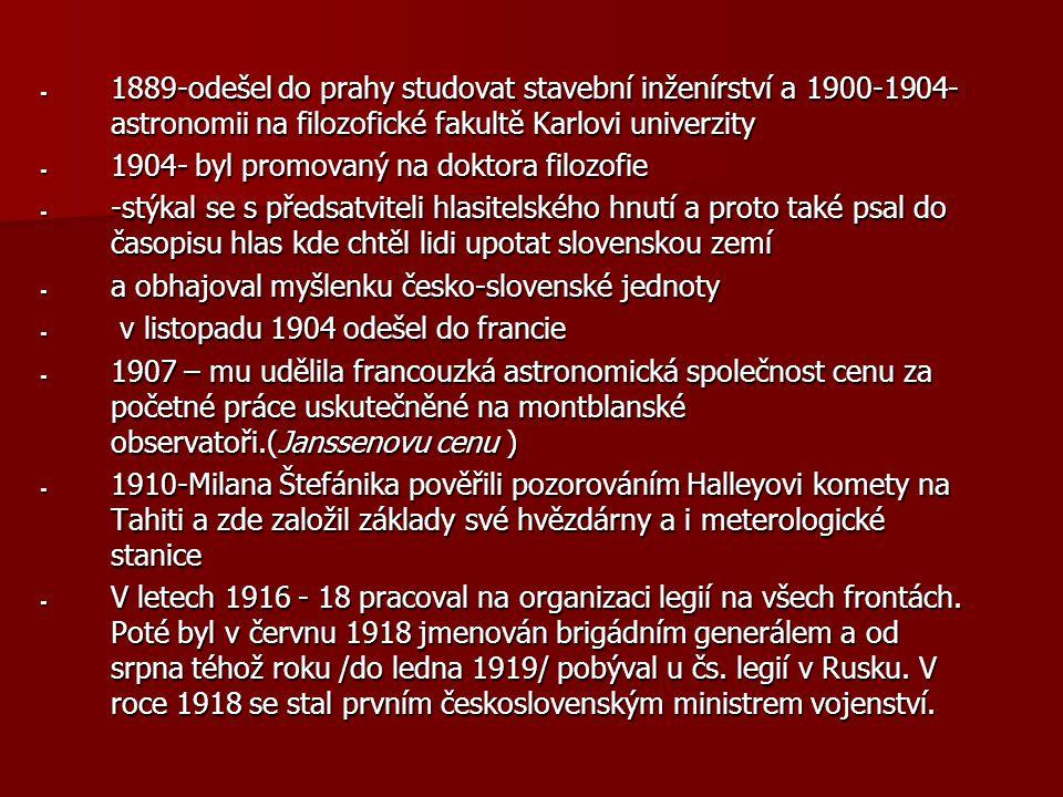 1889-odešel do prahy studovat stavební inženírství a 1900-1904-astronomii na filozofické fakultě Karlovi univerzity
