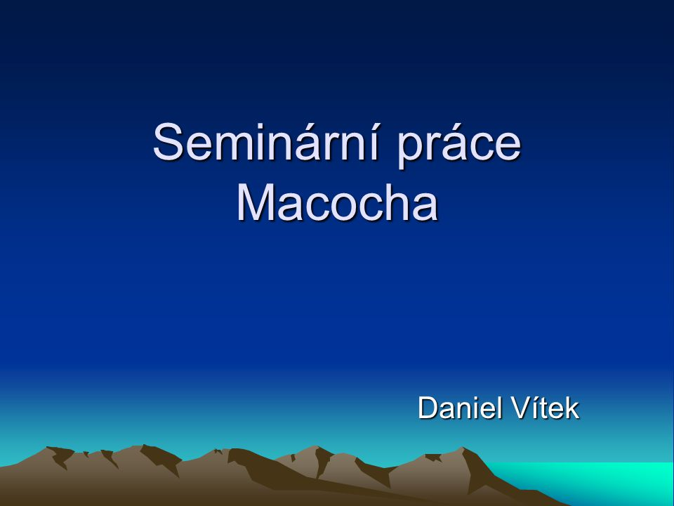 Seminární práce Macocha