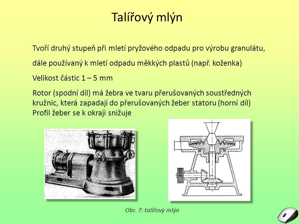 Talířový mlýn Tvoří druhý stupeň při mletí pryžového odpadu pro výrobu granulátu, dále používaný k mletí odpadu měkkých plastů (např. koženka)