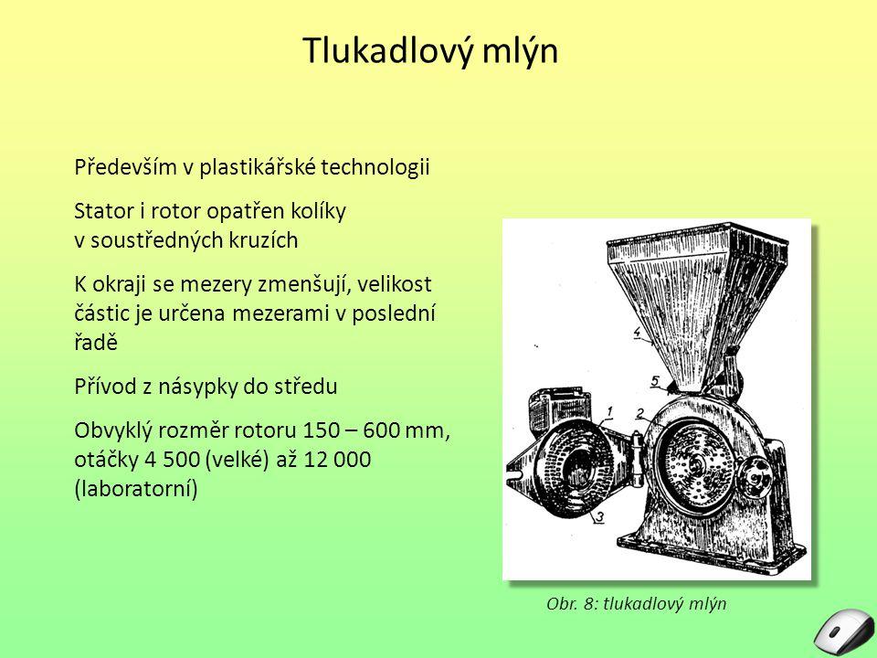 Tlukadlový mlýn Především v plastikářské technologii