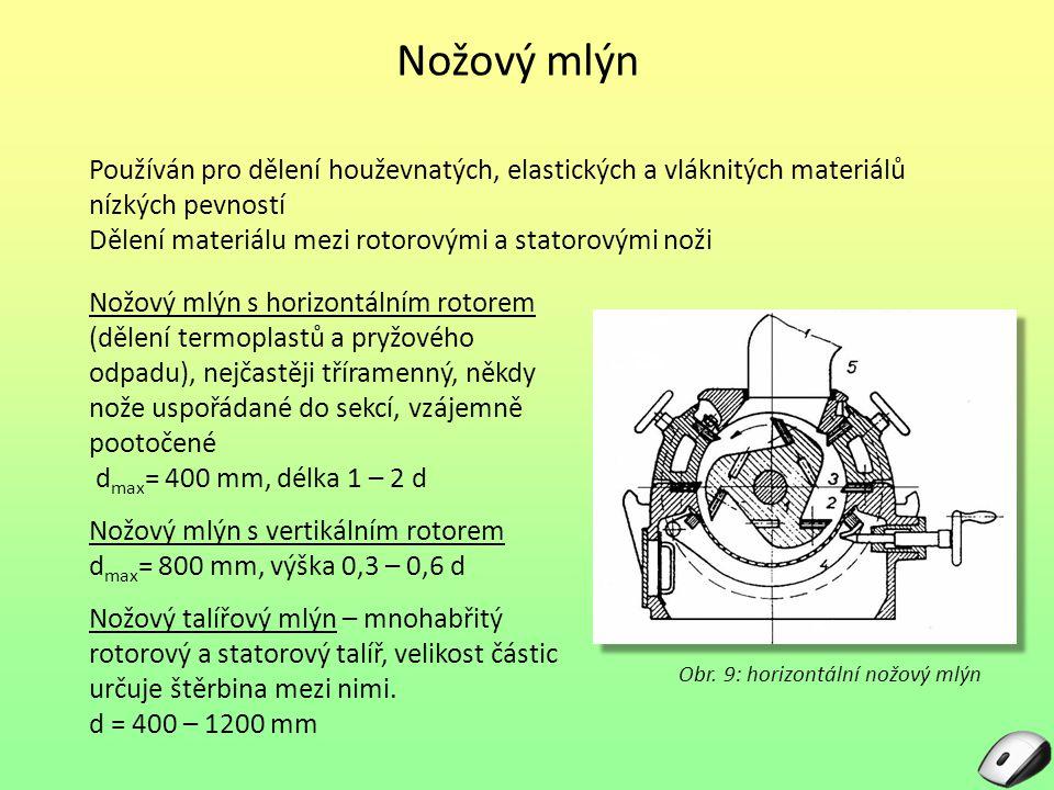 Nožový mlýn Používán pro dělení houževnatých, elastických a vláknitých materiálů nízkých pevností.