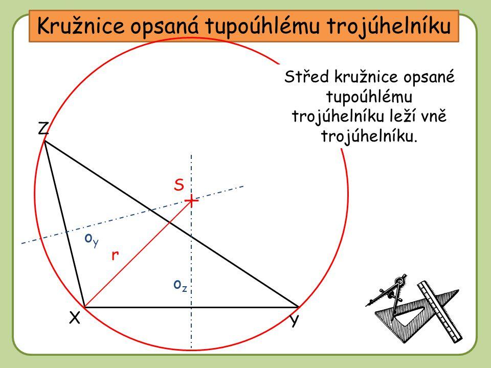 Kružnice opsaná tupoúhlému trojúhelníku