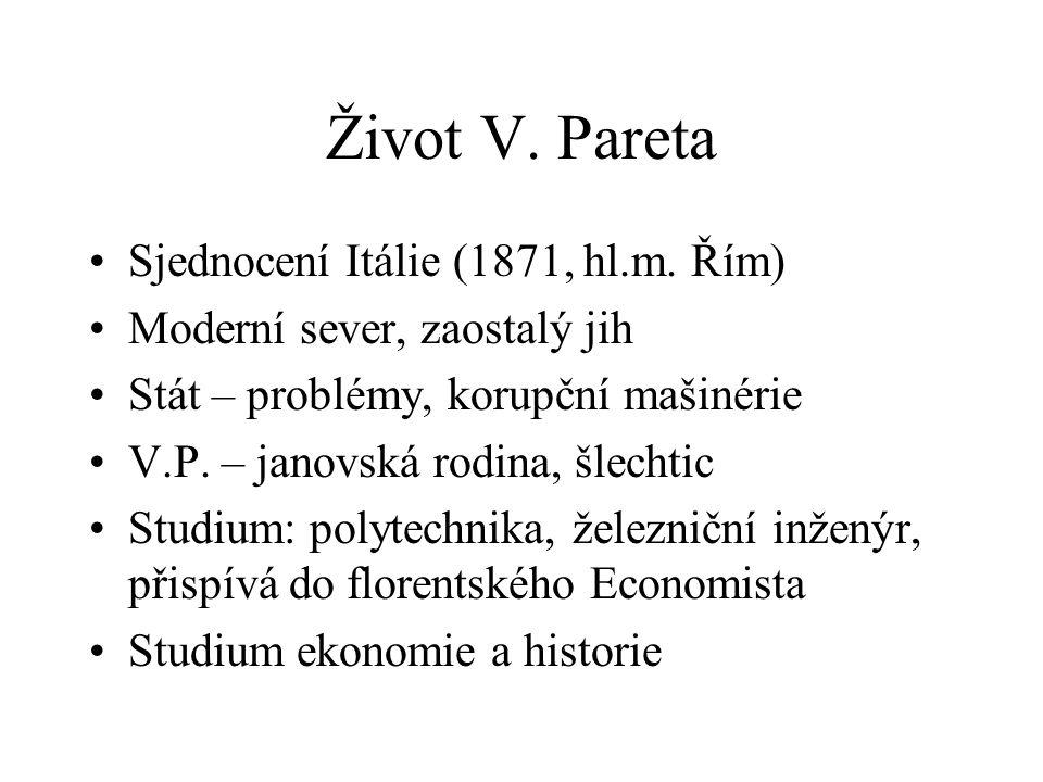 Život V. Pareta Sjednocení Itálie (1871, hl.m. Řím)