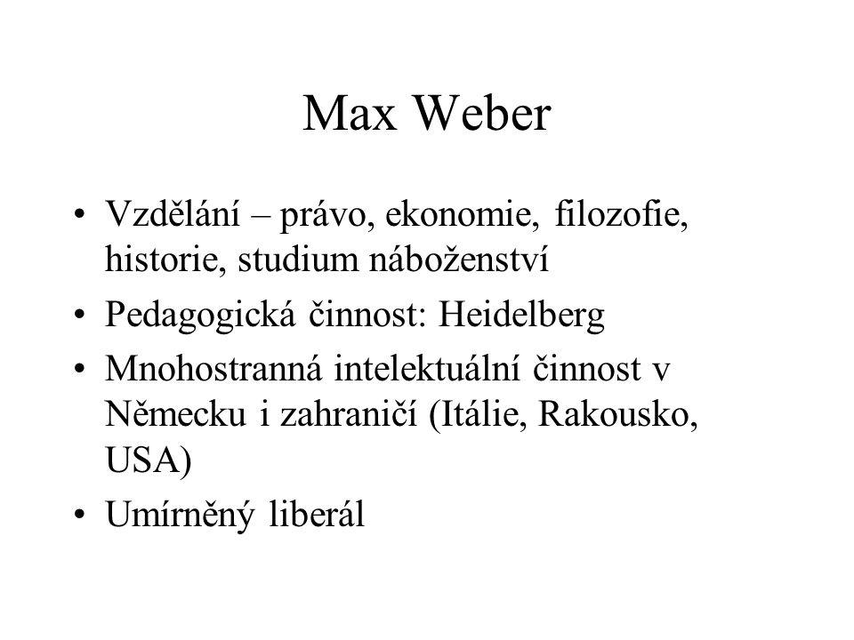 Max Weber Vzdělání – právo, ekonomie, filozofie, historie, studium náboženství. Pedagogická činnost: Heidelberg.