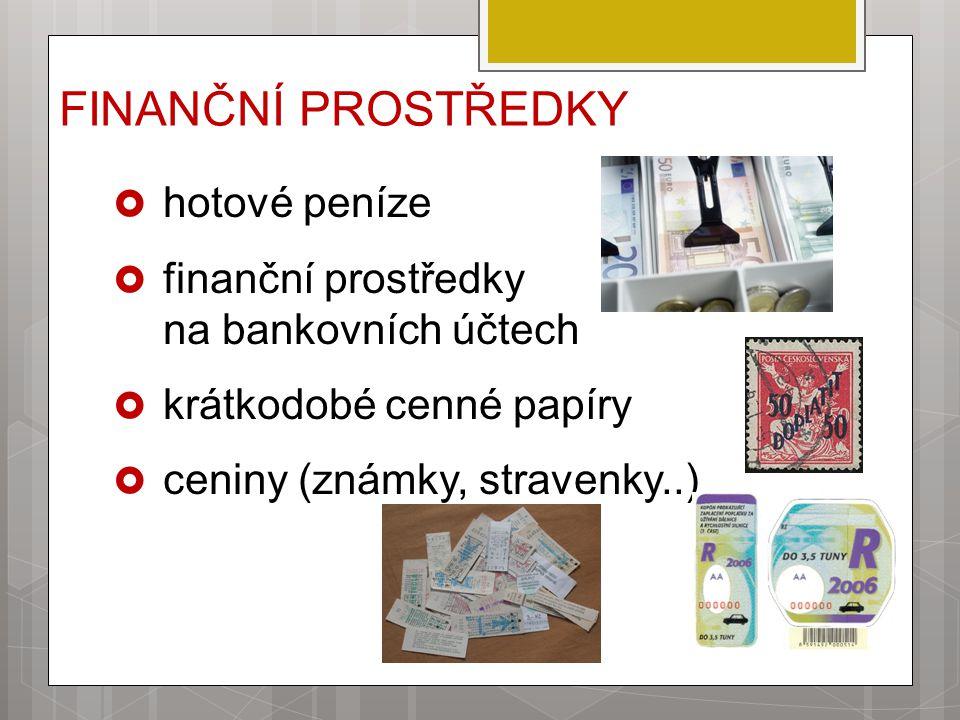 FINANČNÍ PROSTŘEDKY hotové peníze