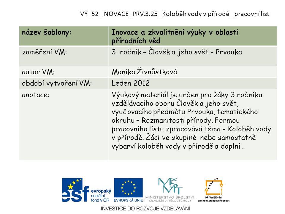 VY_52_INOVACE_PRV.3.25 _Koloběh vody v přírodě_ pracovní list