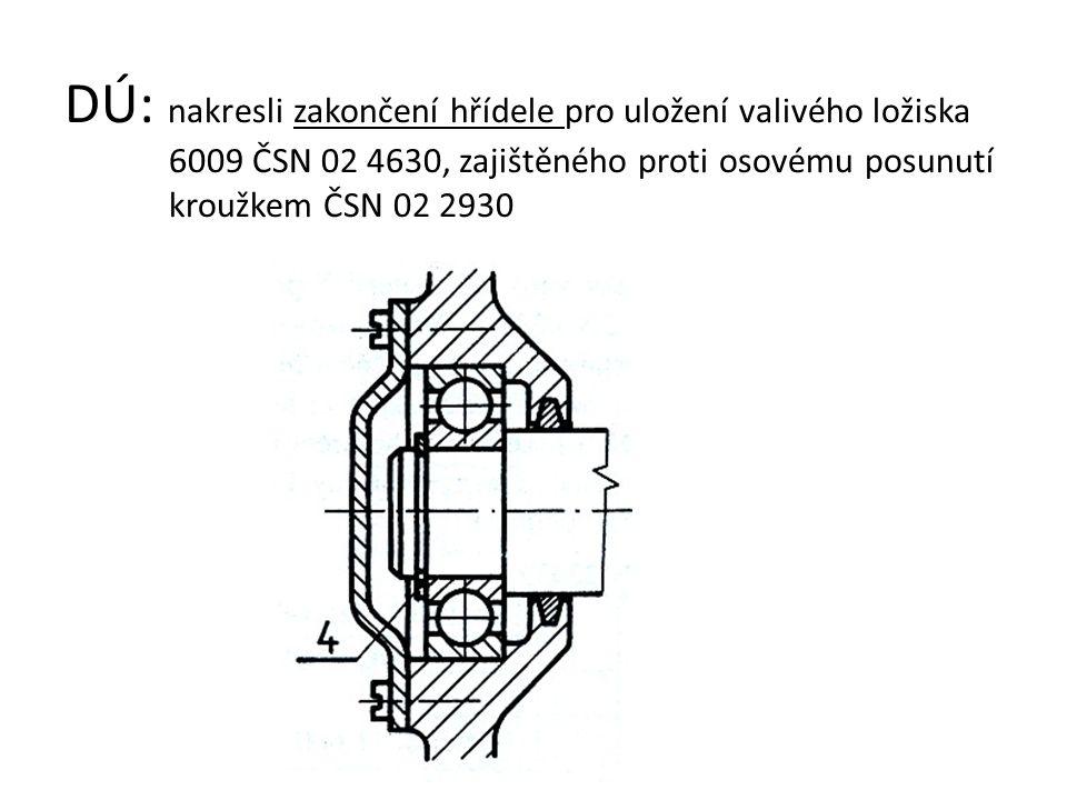 DÚ: nakresli zakončení hřídele pro uložení valivého ložiska 6009 ČSN 02 4630, zajištěného proti osovému posunutí kroužkem ČSN 02 2930