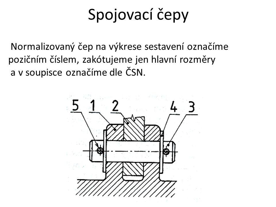 Spojovací čepy Normalizovaný čep na výkrese sestavení označíme pozičním číslem, zakótujeme jen hlavní rozměry.