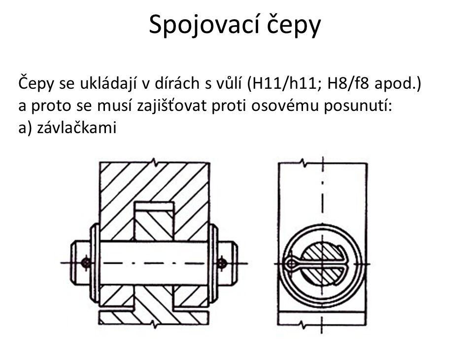 Spojovací čepy Čepy se ukládají v dírách s vůlí (H11/h11; H8/f8 apod.) a proto se musí zajišťovat proti osovému posunutí: