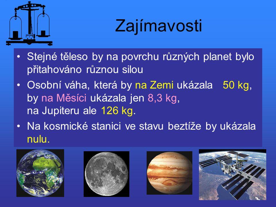 Zajímavosti Stejné těleso by na povrchu různých planet bylo přitahováno různou silou.