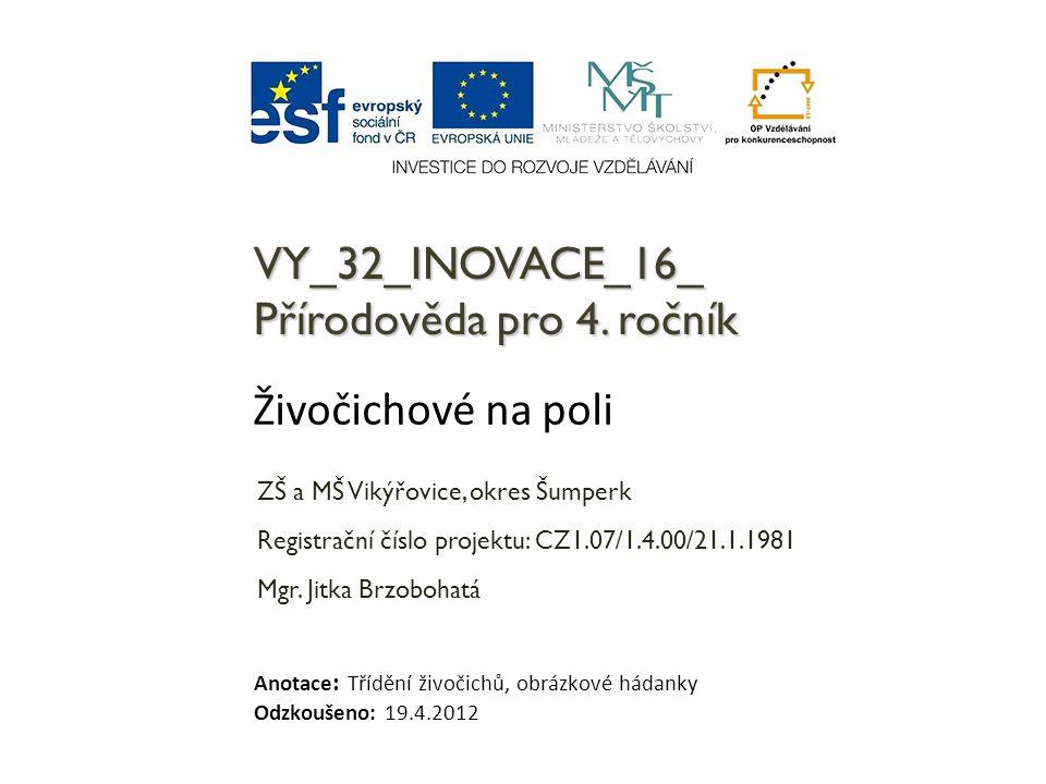 VY_32_INOVACE_16_ Přírodověda pro 4. ročník