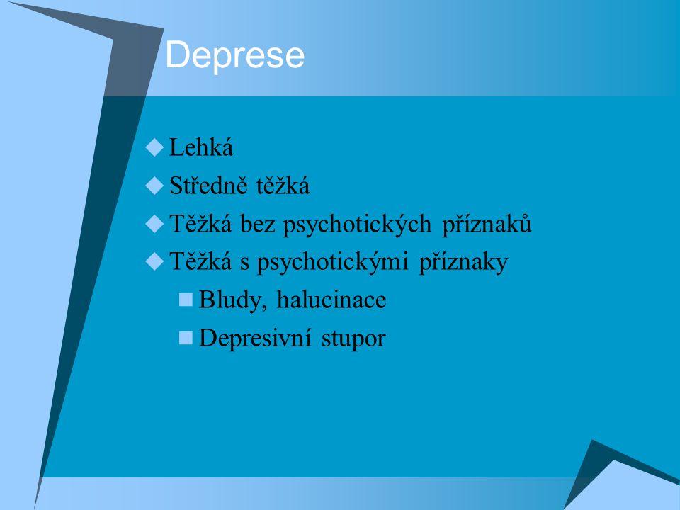 Deprese Lehká Středně těžká Těžká bez psychotických příznaků