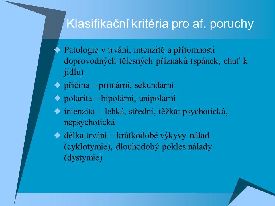 Klasifikační kritéria pro af. poruchy