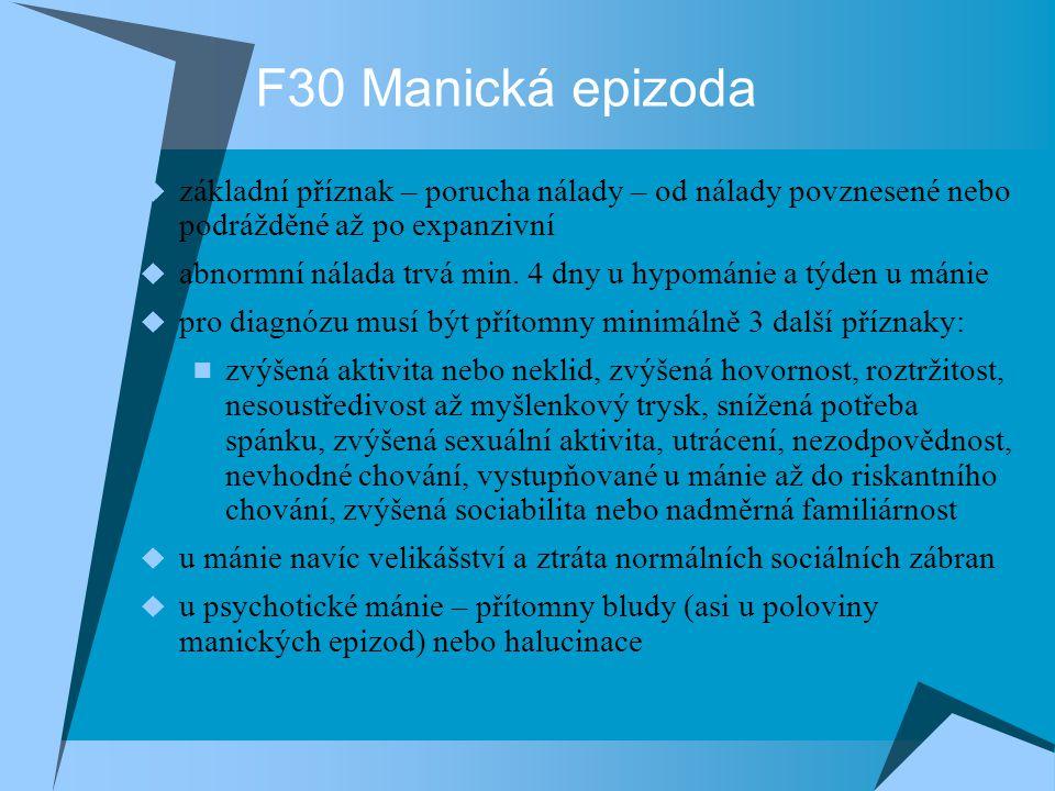 F30 Manická epizoda základní příznak – porucha nálady – od nálady povznesené nebo podrážděné až po expanzivní.