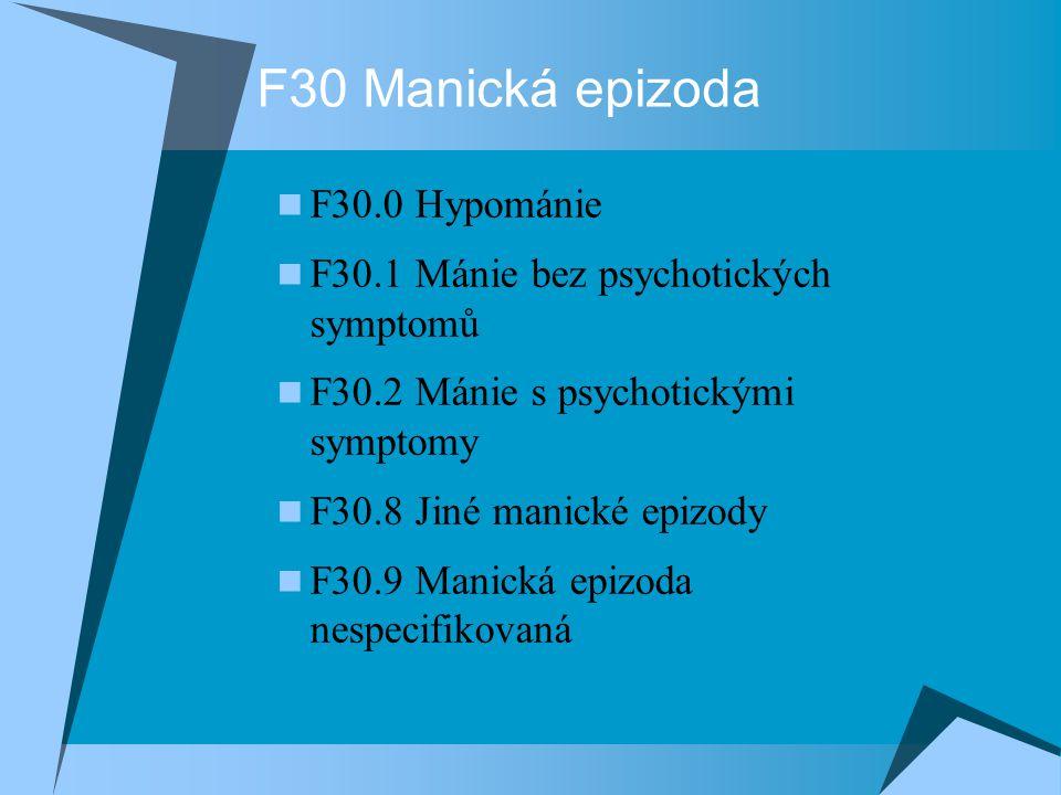 F30 Manická epizoda F30.0 Hypománie