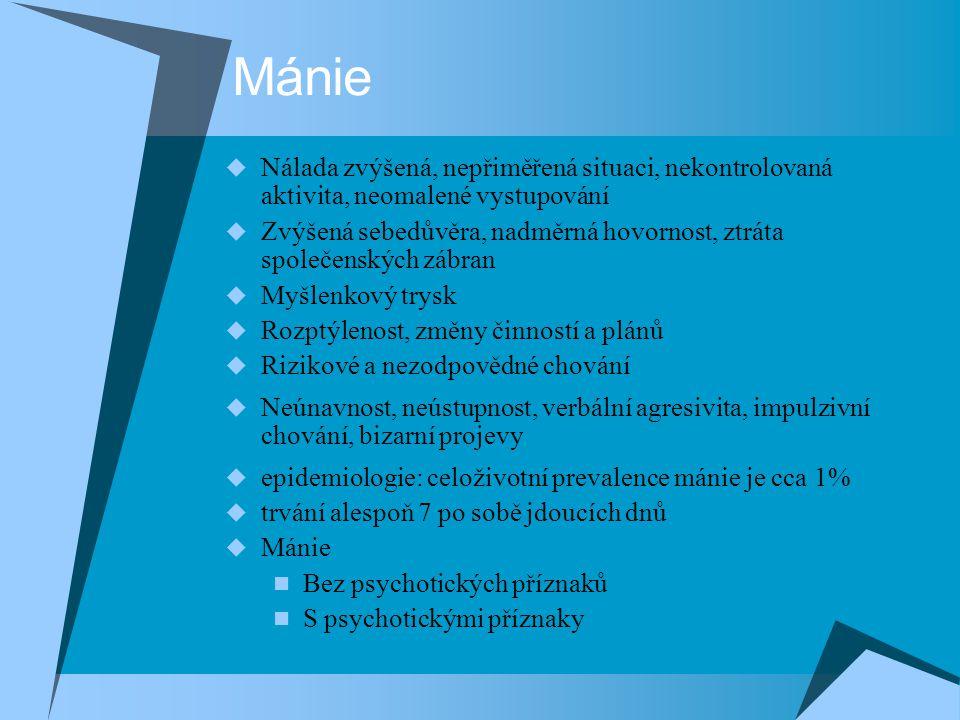 Mánie Nálada zvýšená, nepřiměřená situaci, nekontrolovaná aktivita, neomalené vystupování.