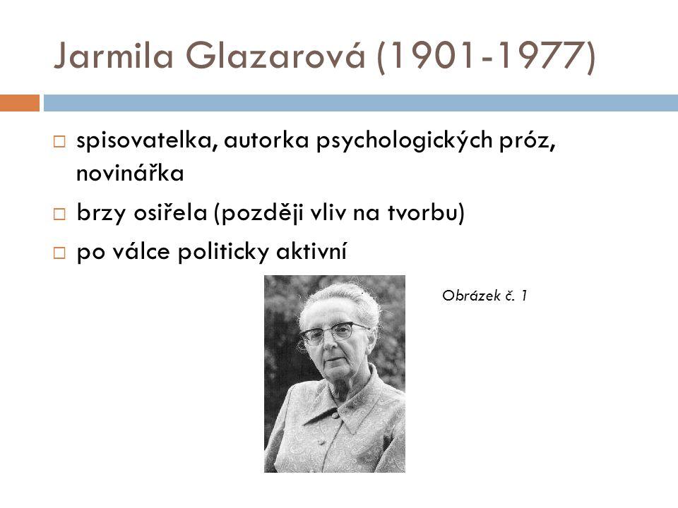 Jarmila Glazarová (1901-1977) spisovatelka, autorka psychologických próz, novinářka. brzy osiřela (později vliv na tvorbu)