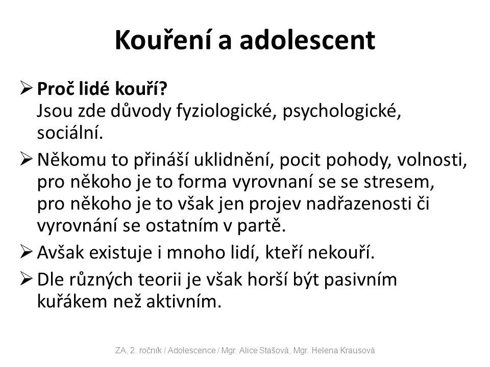 ZA, 2. ročník / Adolescence / Mgr. Alice Stašová, Mgr. Helena Krausová