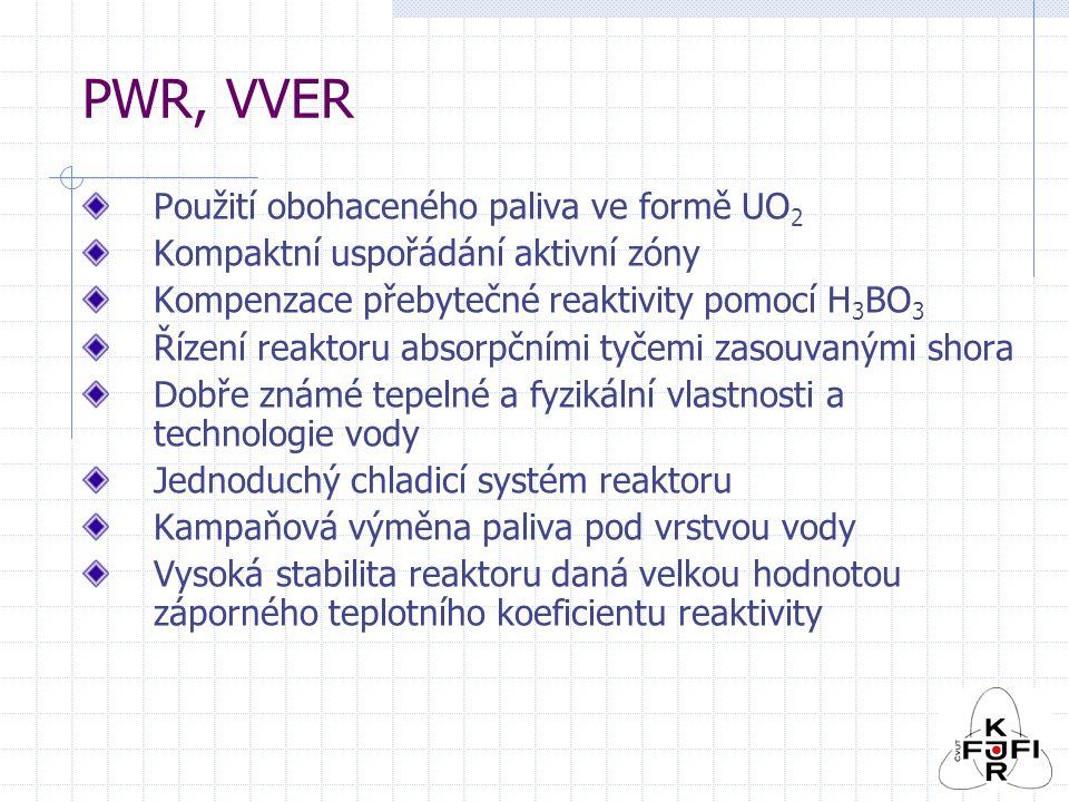 PWR, VVER Použití obohaceného paliva ve formě UO2