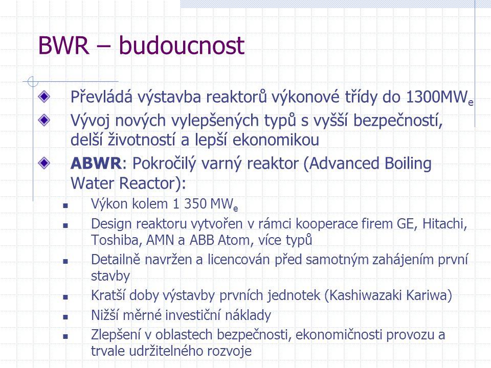 BWR – budoucnost Převládá výstavba reaktorů výkonové třídy do 1300MWe