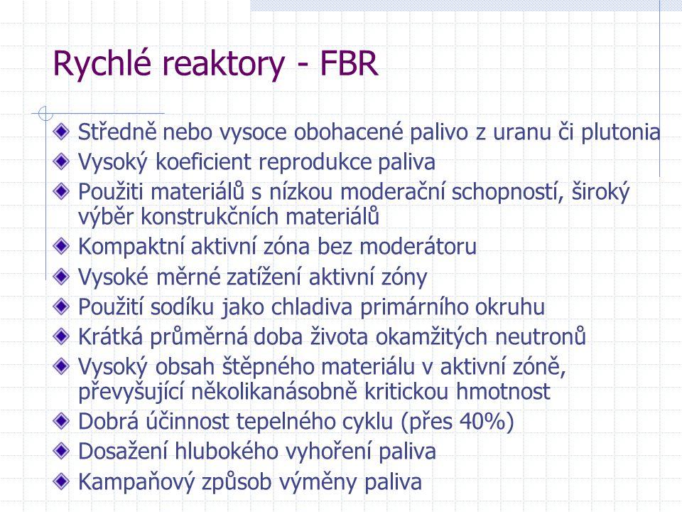 Rychlé reaktory - FBR Středně nebo vysoce obohacené palivo z uranu či plutonia. Vysoký koeficient reprodukce paliva.