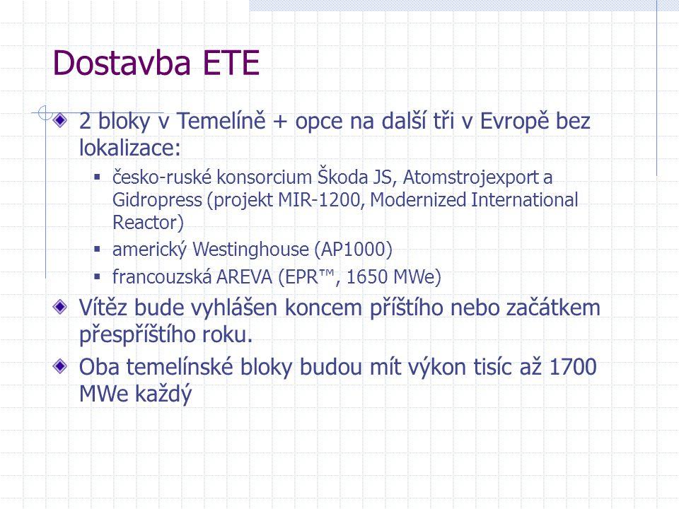 Dostavba ETE 2 bloky v Temelíně + opce na další tři v Evropě bez lokalizace: