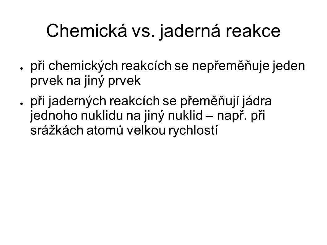 Chemická vs. jaderná reakce