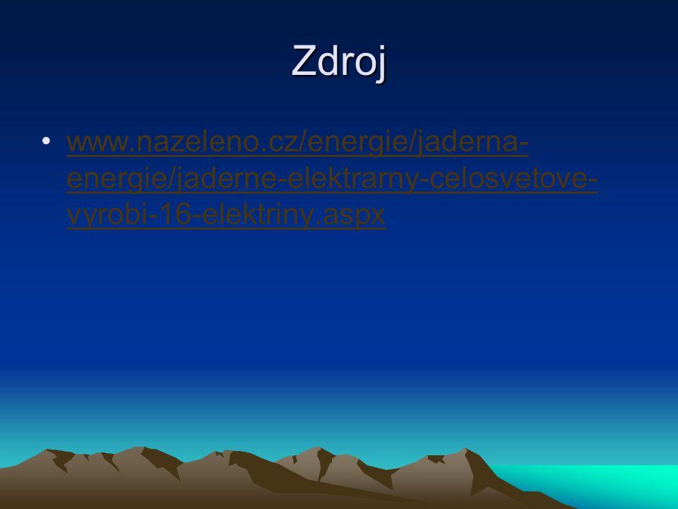 Zdroj www.nazeleno.cz/energie/jaderna-energie/jaderne-elektrarny-celosvetove-vyrobi-16-elektriny.aspx.